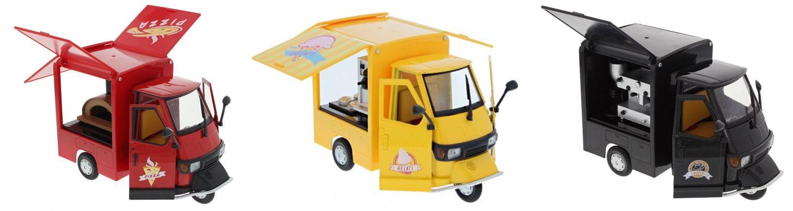 68043B-2-Modell-Piaggio-Ape-50-Verkaufswagen-Eis-Gelati-gelb-NewRay-wms24de-pana