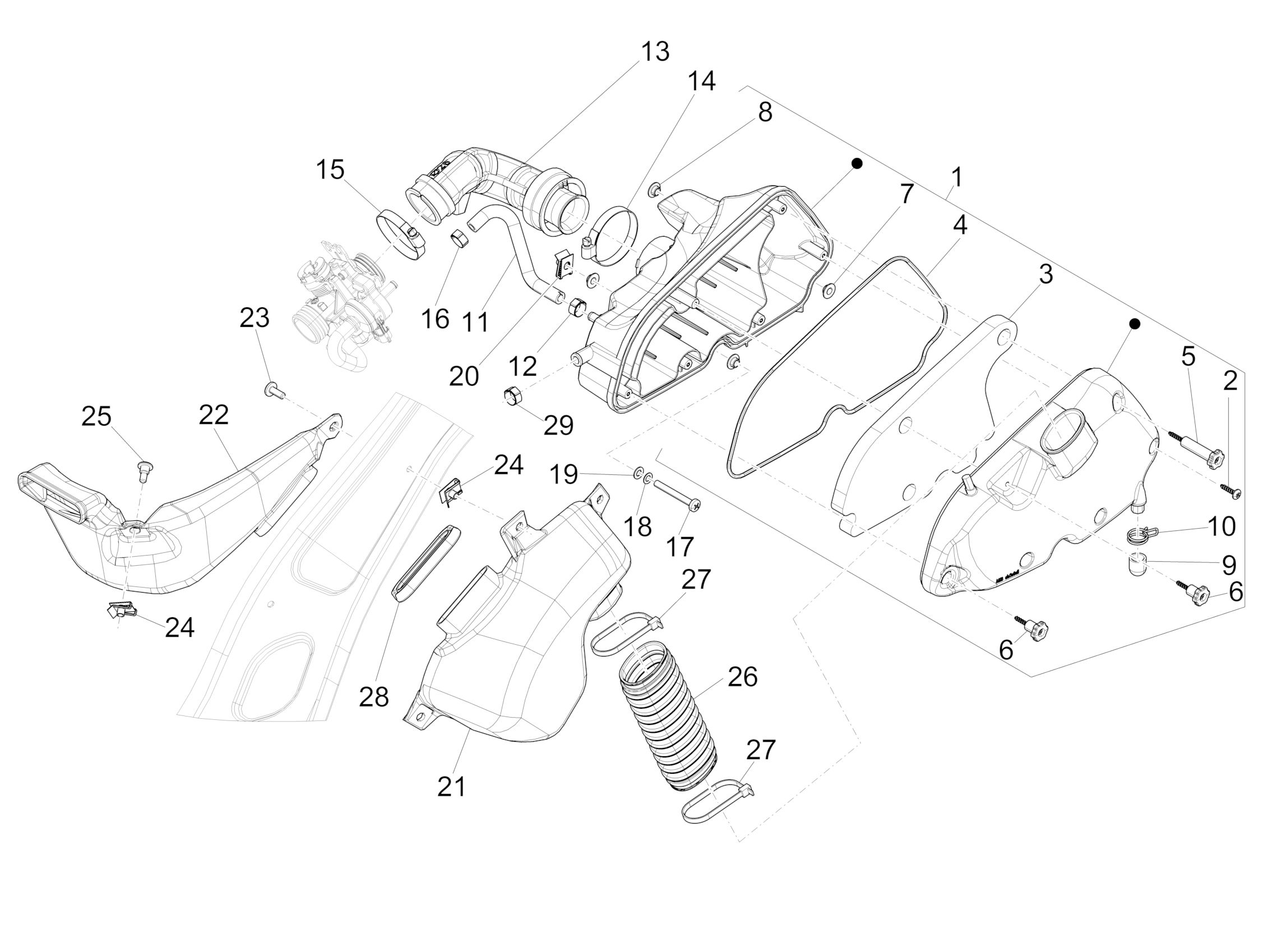 Tafel 01.45 Luftfilter | Motor | Vespa Primavera 125 3V 2013 ... on